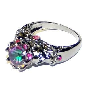 送料無料 虹色で豪華な美しい指輪 リング 内径19ミリ 19号 メンズもOK(リング(指輪))