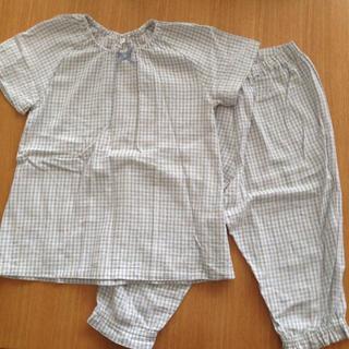 ムジルシリョウヒン(MUJI (無印良品))の無印良品 チェック半袖パジャマ 水色  130(パジャマ)