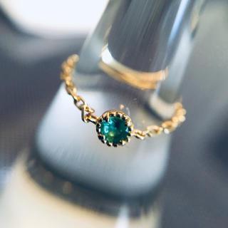 パライバトルマリン チェーンリング k18 レアストーンのステファニー 美品(リング(指輪))