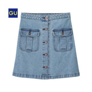 GU - GU ジーユー  デニムフロントボタンミニスカート