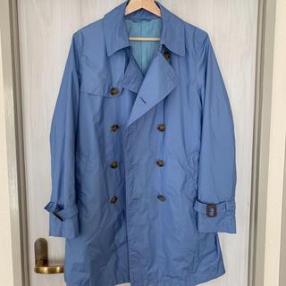 メンズ トレンチコート スプリングコート ブルー Mサイズ