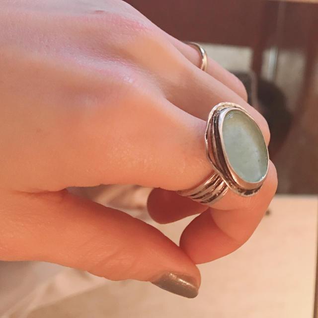 グリーンとシルバー925 リング メンズのアクセサリー(リング(指輪))の商品写真