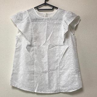ジーユー(GU)の新品 GU コットンレースフリルスリーブブラウス(シャツ/ブラウス(半袖/袖なし))