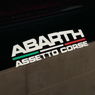 ステッカー ABARTH assetto corse ホワイト/トリコローレ(車外アクセサリ)