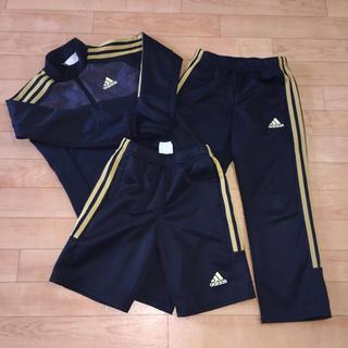 アディダス(adidas)のadidas ジャージ 3点 黒 120 ゴールド ライン(Tシャツ/カットソー)