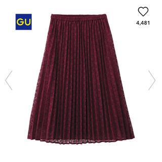 ジーユー(GU)のイージーレースプリーツスカート ワインレッド(ひざ丈スカート)
