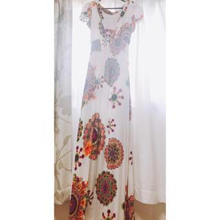 デシグアル(DESIGUAL)のdesigualマキシワンピースサイズ38超ロングドレス刺繍裏地ポケット付き(ロングワンピース/マキシワンピース)