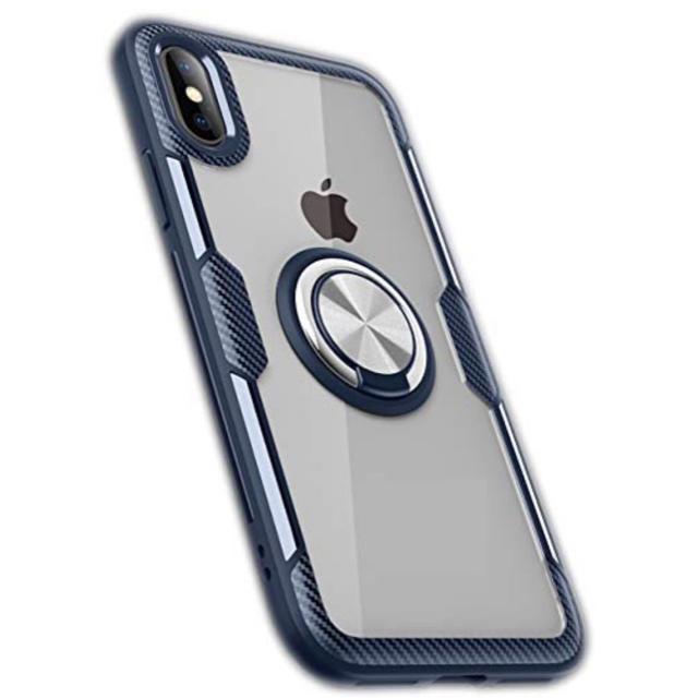 iphone xs ケース root 、 iphone XRケース リング 付き  (ネイビー)【新品 未使用】の通販 by pupitino  |ラクマ