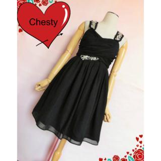 チェスティ(Chesty)の【チェスティ/Chesty】ビジューキャミソールドレス☆黒 ブラック☆0(ミディアムドレス)