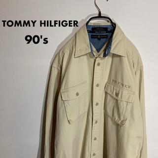 トミーヒルフィガー(TOMMY HILFIGER)の古着 90's TOMMY HILFIGER ワンポイント ジャケット ベージュ(ブルゾン)