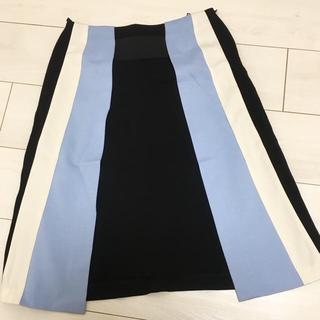 チェスティ(Chesty)の台形 ストライプ スカート ブルー(ひざ丈スカート)