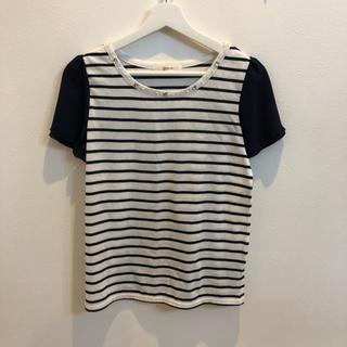 グローブ(grove)のgrove ビジューボーダー Tシャツ カットソー(Tシャツ(半袖/袖なし))
