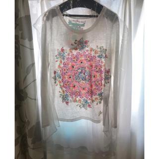 デシグアル(DESIGUAL)のdesigualロンTホワイト長袖Tシャツ異素材MIXボタニカル背中プリーツXS(カットソー(長袖/七分))