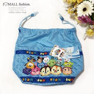 Disney - 【ブルー】新品☆ディズニーツムツムのキルトランチバッグ☆巾着袋☆お弁当箱入れ
