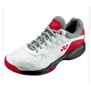 ヨネックス(YONEX)のヨネックス テニスシューズ SHT-103 ホワイト×レッド オムニクレー(シューズ)