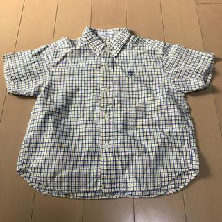 ファミリア(familiar)のファミリア 100㎝ 男の子用 ブルー×イエロー チェック柄 半袖シャツ(ブラウス)