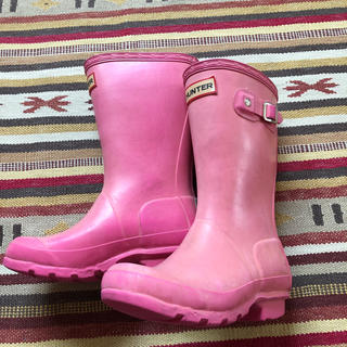 ハンター(HUNTER)の中古 Hunter ハンター 長靴 キッズ 18〜19cm ピンク(長靴/レインシューズ)