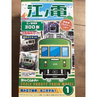 バンダイ(BANDAI)の江ノ島電鉄300形 2両編成セット 組み立てキット 駅名板プラットホーム付(鉄道模型)