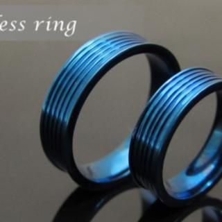 ステンレス リング 指輪 ブルーライン アクセサリー 7号(リング(指輪))