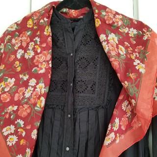 アッシュペーフランス(H.P.FRANCE)のパリで購入/ヴィンテージ花柄シフォンスカーフ(バンダナ/スカーフ)