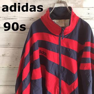 アディダス(adidas)の90s アディダス ナイロンジャケット 希少デザイン ワンポイント刺繍(ナイロンジャケット)