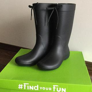 クロックス(crocs)のクロックス♡フリーセイルレインブーツ♡ブラック♡ウィメンズサイズ7♡23cm(レインブーツ/長靴)