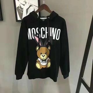 モスキーノ(MOSCHINO)のモスキーノパーカー ウサギクマパーカー ブラック ホワイト (パーカー)