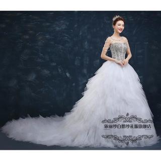 83053f42e8548 ウエディングドレス ハンドビーディング ベアトップ ロングトレーン 結婚式 花嫁(ウェディングドレス)