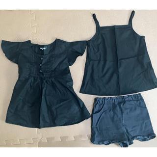 コムサイズム(COMME CA ISM)のコムサ★黒ブラック★サイズ80〜90★シャツ、短パン3点まとめてセット販売(シャツ/カットソー)