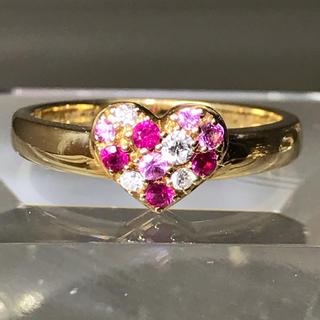 ダイヤモンドリング ルビー ピンクサファイヤ パヴェリング k18 YG(リング(指輪))
