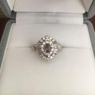ダイヤモンド×アレキサンドライト リング Pt900 0.31ct 0.72ct(リング(指輪))