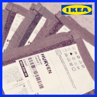 イケア(IKEA)のIKEA HURVEN ハンドタオル 4枚 グレー(ハンカチ)