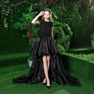 86f0c2054d8bf カラードレス 黒 ソフトチュール ワンピース フィッシュテール 高品質!(ウェディングドレス)