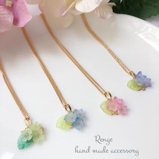 雨上がりの紫陽花ネックレス(プラバン)(ネックレス)