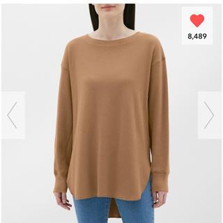 ジーユー(GU)の新品未使用 ハニカムロングスリーブT(長袖) ブラウン M(Tシャツ(長袖/七分))