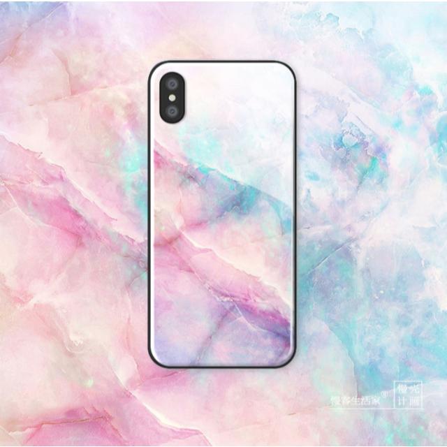 iPhoneケース 大理石調 ピンク ブルー 6/6s/7/8/X/XS/XRの通販 by comcom'shop|ラクマ