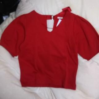ジーユー(GU)のGU パフスリーブTシャツ 五分袖 赤 M(カットソー(半袖/袖なし))
