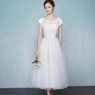 b752d01e1012d ミモレ丈ウエディングドレス(ウェディングドレス)