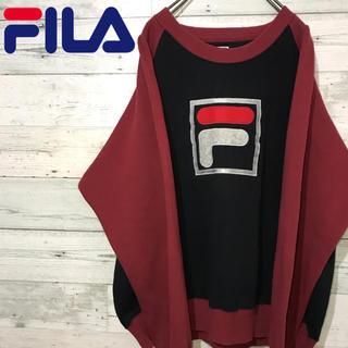 フィラ(FILA)の【激レア】フィラ FILA☆刺繍ビッグロゴ バイカラーデザイン スウェット(スウェット)