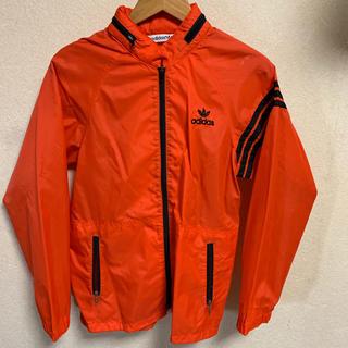 アディダス(adidas)の80s adidas ナイロンジャケット オレンジ 黒 トレフォイルロゴ 古着(ナイロンジャケット)
