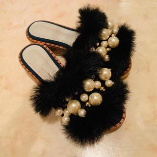 ファーファー(fur fur)の⚠️¥10000→¥6000⚠️FURFURのファーサンダル ブラック(サンダル)