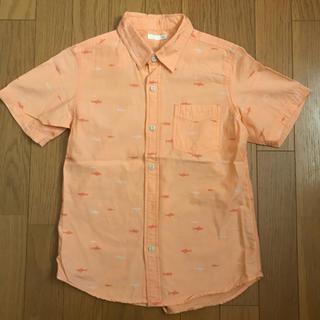 ジーユー(GU)のGU 半袖シャツ 140 オレンジ 魚柄(ブラウス)