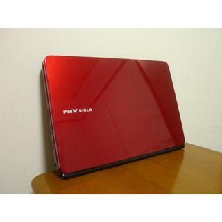 フジツウ(富士通)の大人気の赤ルビーレッド 高性能i3搭載 HDD640G 最新win10(ノートPC)