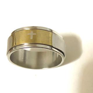 同時購入で300円 ステンレス指輪 回転ストレートクロス(リング(指輪))
