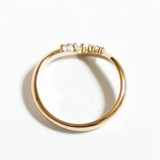 15号 Vライン スワロフスキー アクアマリン ピンクゴールドリング レディースのアクセサリー(リング(指輪))の商品写真