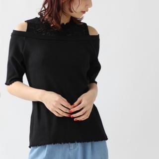 アメリヴィンテージ(Ameri VINTAGE)の肩レースハイネック 切り替え リブカットソー(Tシャツ(半袖/袖なし))