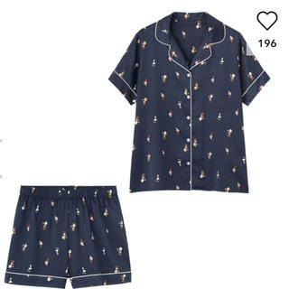 ジーユー(GU)のGU サテンパジャマ 半袖&ショートパンツ peanuts 新品 L ジーユー(パジャマ)