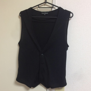 シマムラ(しまむら)の美品 新品 同様 メンズ ベスト ジレ 黒 Mサイズ しまむら 羽織り(ベスト)