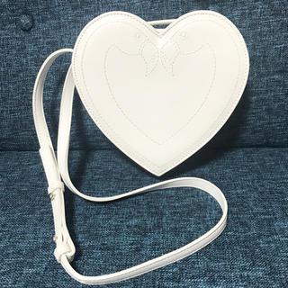 アッシュペーフランス(H.P.FRANCE)のbpb フラミンゴ刺繍ハートバッグ 白(ショルダーバッグ)