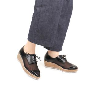 ランダ(RANDA)のRANDA メッシュレースアップ厚底シューズ(ローファー/革靴)